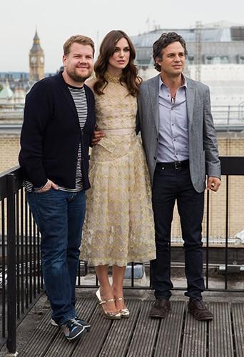 James Corden, Keira Knightley et Mark Ruffalo à Londres le 2 juillet 2014