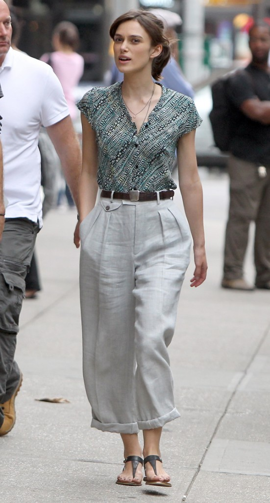 Keira Knightley en tournage le 23 juillet 2012 à New York
