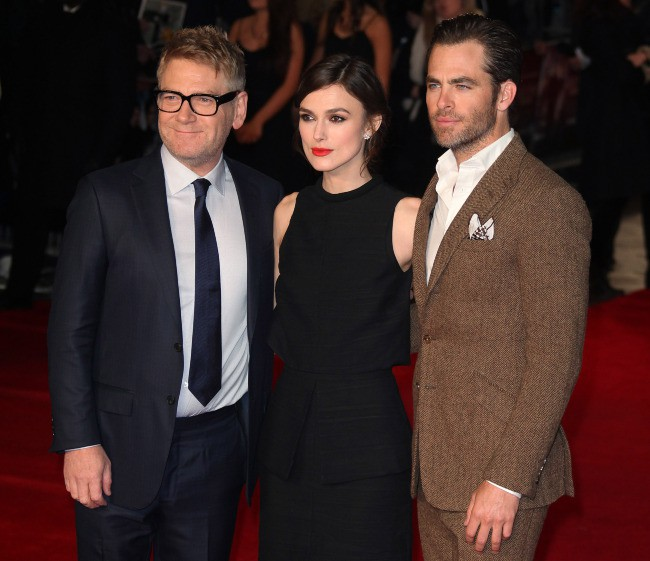 "Kenneth Branagh, Keira Knightley et Chris Pine lors de la première de ""The Ryan Initiative"" à Londres, le 20 janvier 2014."