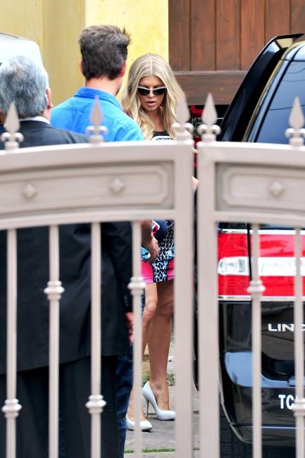 Fergie, et son mari Josh Duhamel, lors de sa baby shower à Brentwood, le 28 juillet 2013.