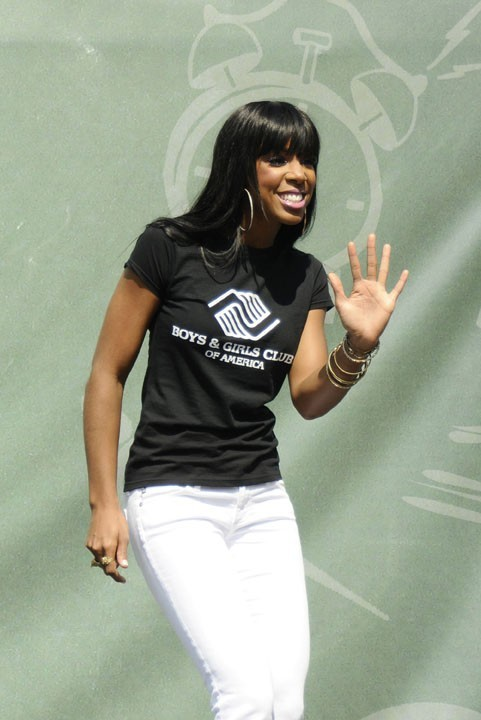 "Kelly Rowland à l'occasion du ""Largest Wake Up Call"" à New York, le 4 août 2011."