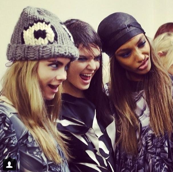 Cara Delevingne, Kendall Jenner et Jordan Dunn à Londres le 17 février 2014