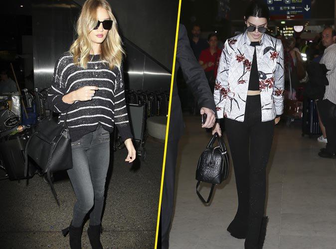 Kendall Jenner et Rosie Huntington-Whiteley : Combat de tops models stylées à l'aéroport !