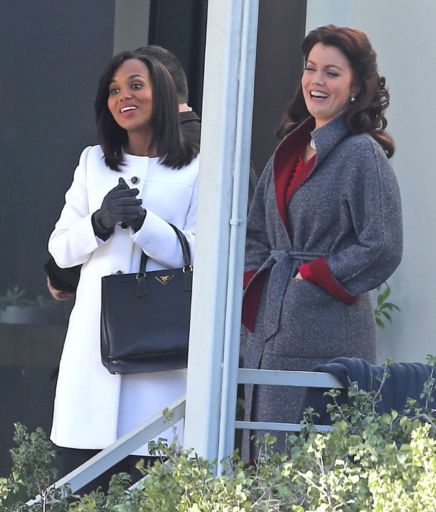 Kerry Washington sur le tournage de la saison 3 de Scandal à Los Angeles le 9 décembre 2013