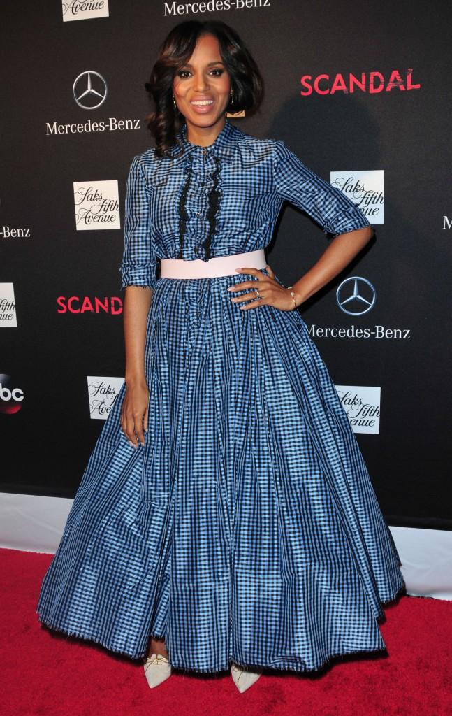 """Kerry Washington lors de la première de la saison 3 de la série """"Scandal"""" à New York, le 3 octobre 2013."""
