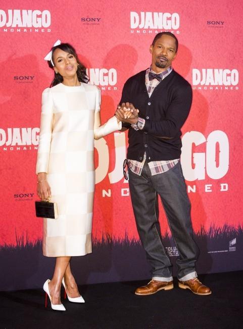 Kerry Washington et Jamie Foxx lors du photocall du film Django Unchained à Berlin, le 8 janvier 2013.