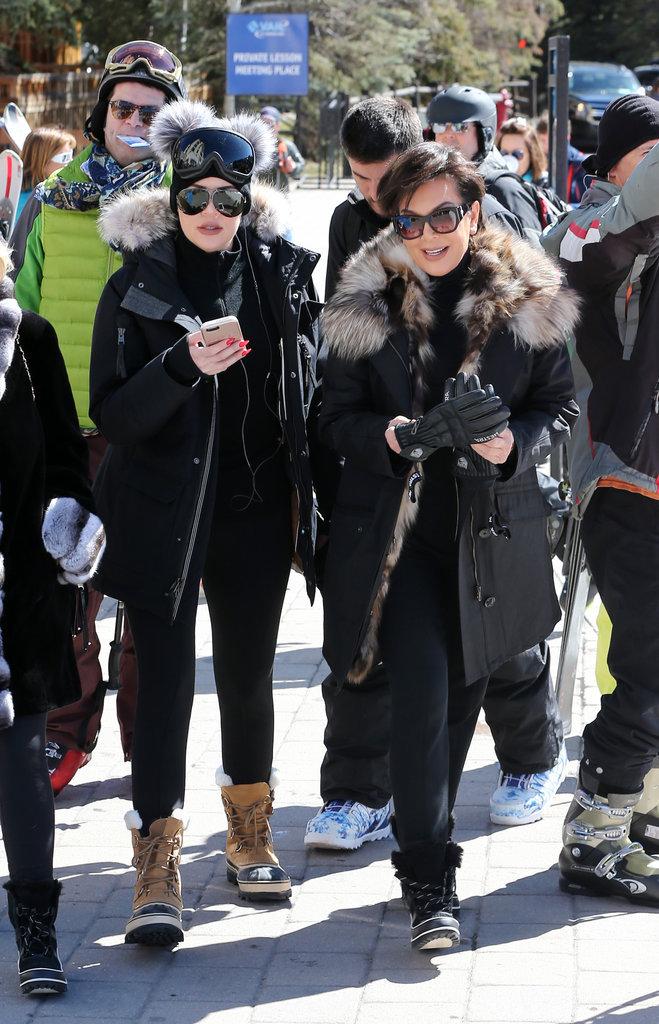 Khloé Kardashian, Kris Jenner en vacances à Vail (Colorado), le 7 avril 2016