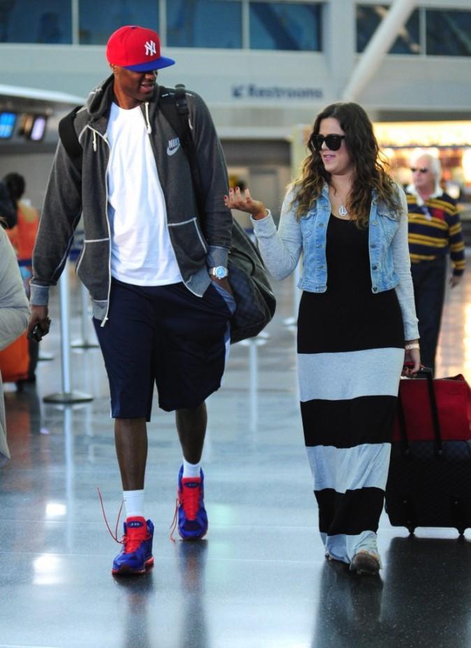 Khloe Kardashian et Lamar Odom à l'aéroport JFK à New York, le 19 juin 2012.
