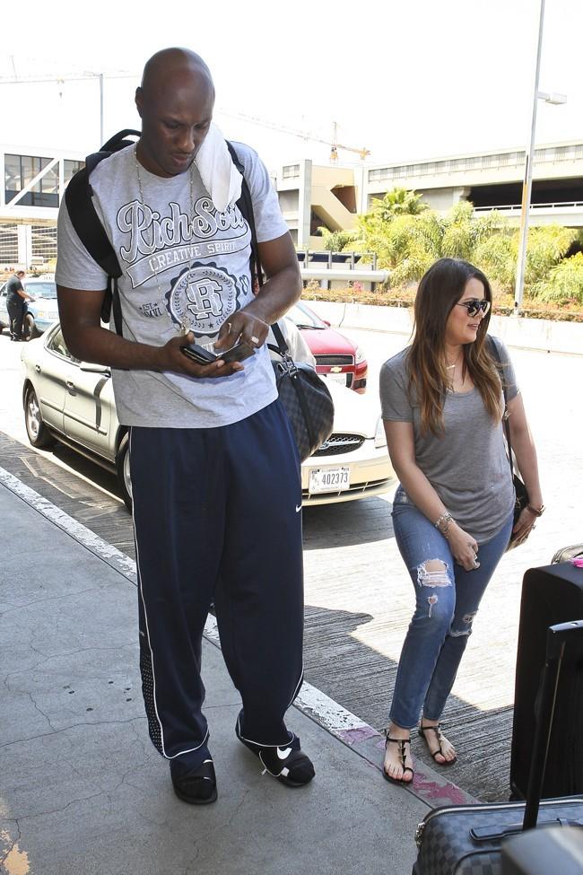 Khloe Kardashian et Lamar Odom le 17 juillet 2012 à Los Angeles
