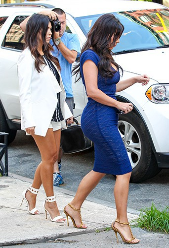 Kourtney et Kim Kardashian à New York le 7 juillet 2014