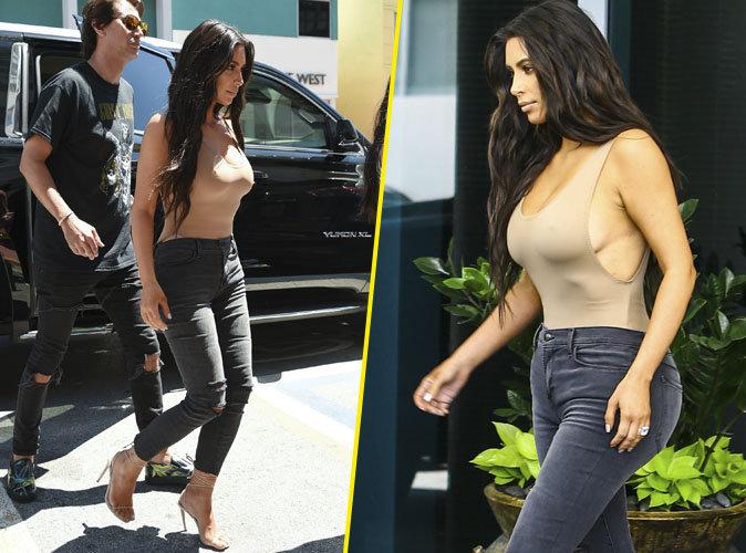 Photos : Kim Kardashian : top très moulant et décolleté XXL à Miami