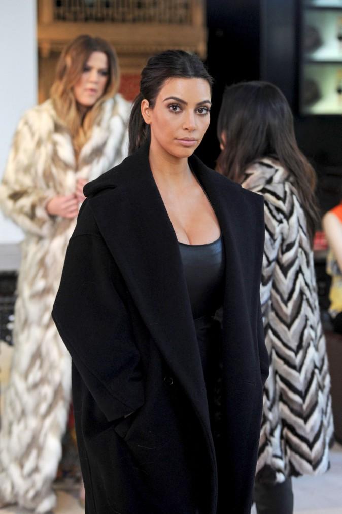 Kim, Khloe et Kourtney Kardashian à New York, le 17 février 2014.