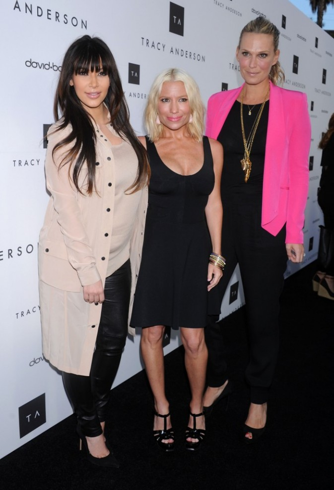 Kim Kardashian, Tracy Anderson et Molly Sims à Brentwood, le 4 avril 2013.