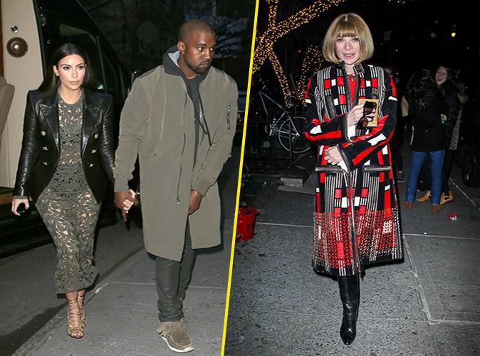 Kim Kardashian, Kanye West et Anna Wintour à New York le 25 mars 2014