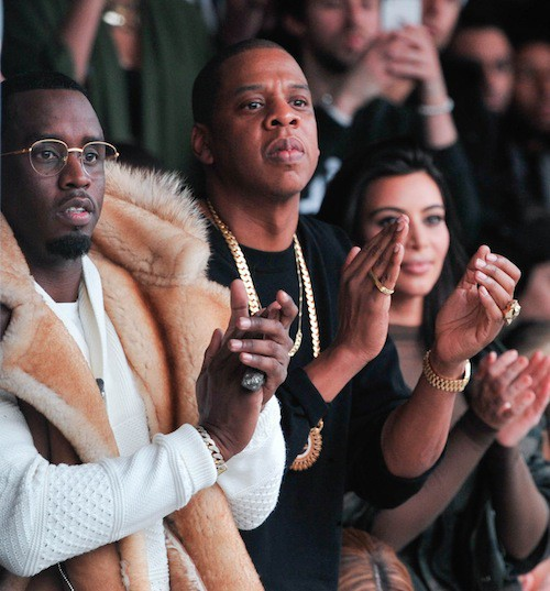 P.Diddy et Jay-Z au défilé Kanye West x Adidas le 12 février 2015