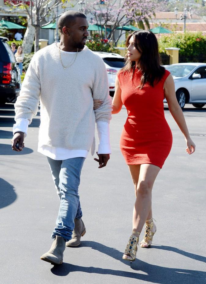Kim Kardashian et Kanye West à Calabasas le 14 mars 2014