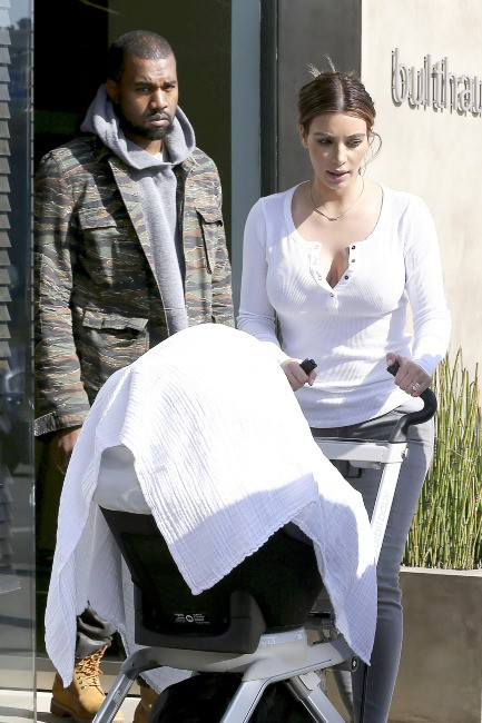 Kim Kardashian et Kanye West à Beverly Hills, le 23 janvier 2014.