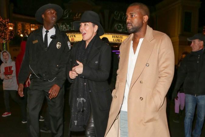 Kris Jenner et Kanye West à Calabasas le 21 décembre 2013