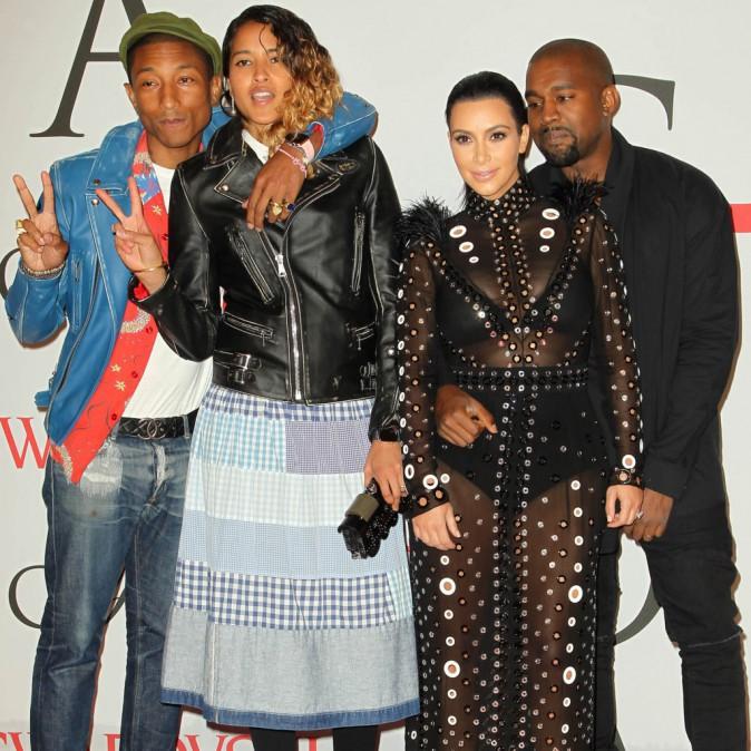 Kim Kardashian, Kanye West et Pharrell Williams le 1er juin 2015