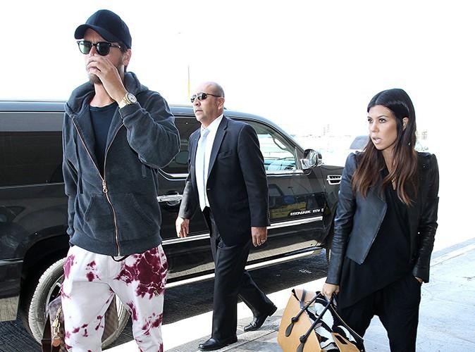 Scott Disick et Kourtney Kardashian à l'aéroport de Los Angeles le 10 mai 2014