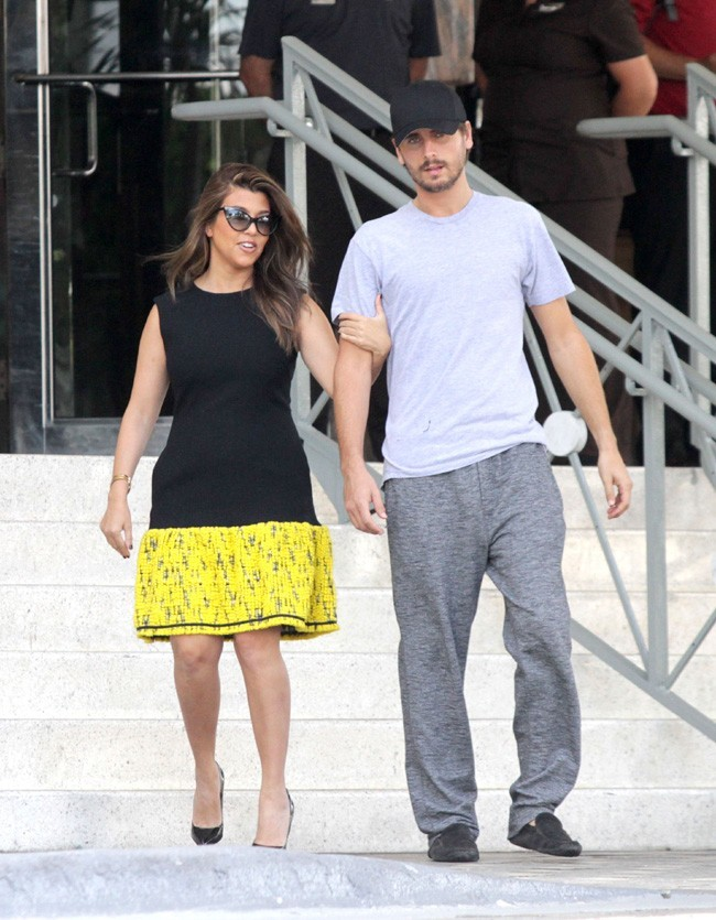 Kourtney Kardashian et Scott Disick en tournage à Miami le 18 septembre 2012