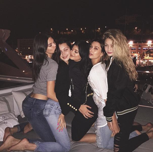 Kylie Jenner, Kendall Jenner, Bella Hadid, Gigi Hadid le 24 mai 2015