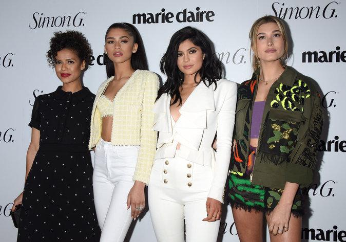Zendaya, Kylie Jenner, HaIley Baldwin à la soirée Marie Claire ce lundi 11 avril 2016