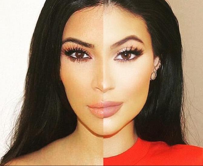 Le visage de Kim Kardashian et Kylie Jenner