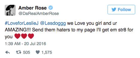 Amber Rose soutient Leslie Jones sur Twitter