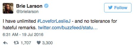 Brie Larson soutient Leslie Jones sur Twitter