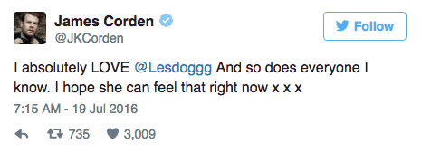 James Corden soutient Leslie Jones sur Twitter