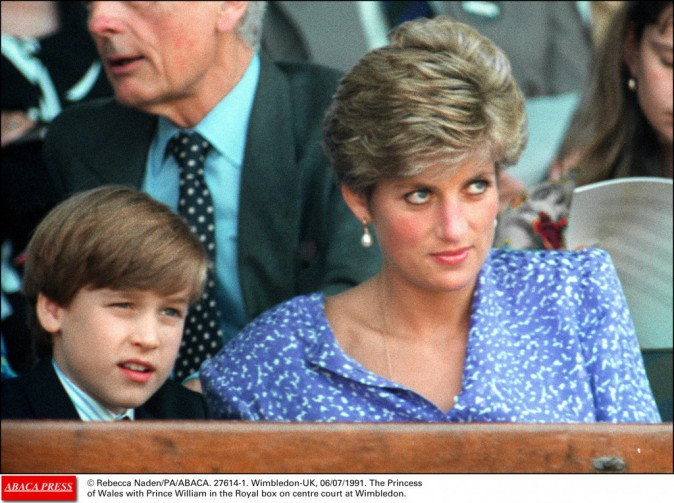 Lady Diana avec son fils William à Wimbledon en 1991