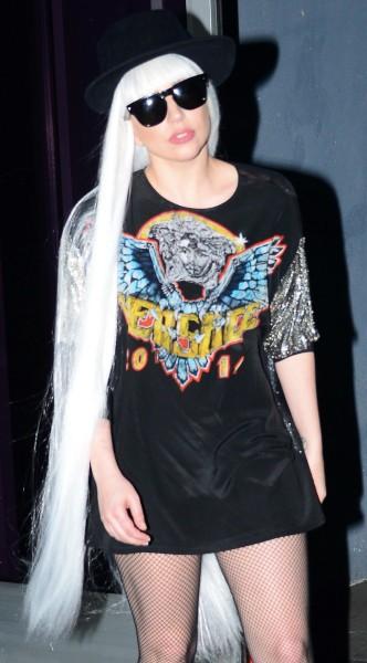 Lady Gaga à la sortie d'un studio d'enregistrement à Hollywood, le 26 février 2014.