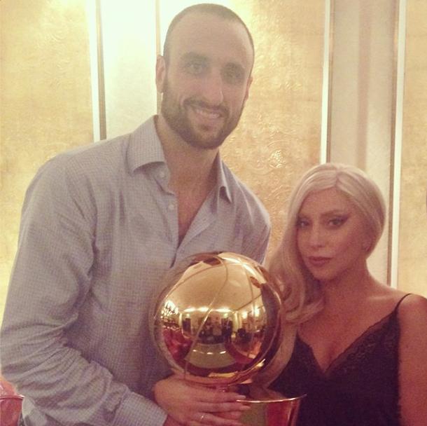 Lady Gaga et Emanuel Ginobili à Berlin le 8 octobre 2014