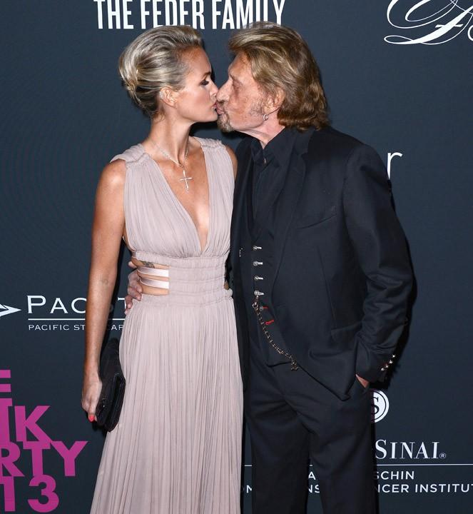 Laeticia et Johnny Hallyday à la Pink Party organisée à Santa Monica le 20 octobre 2013