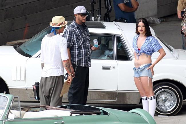 Lana Del Rey sur le tournage de son nouveau clip à Los Angeles le 30 juin 2013