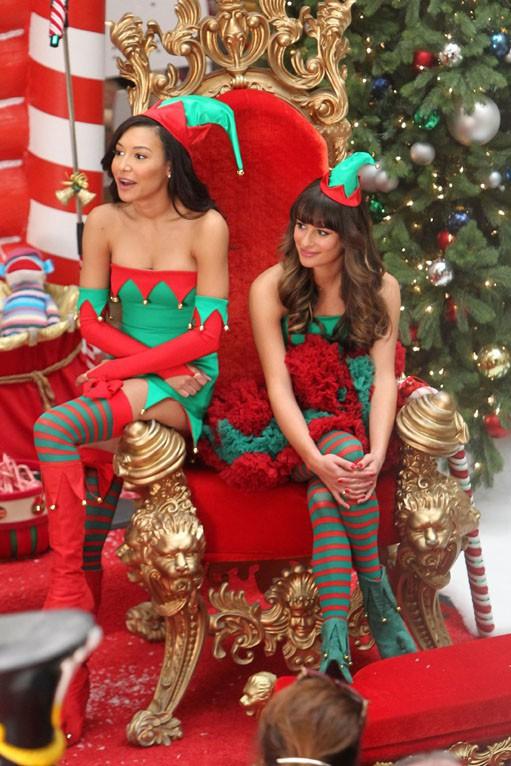 Naya Rivera et Lea Michele sur le tournage de Glee à Los Angeles le 7 novembre 2013