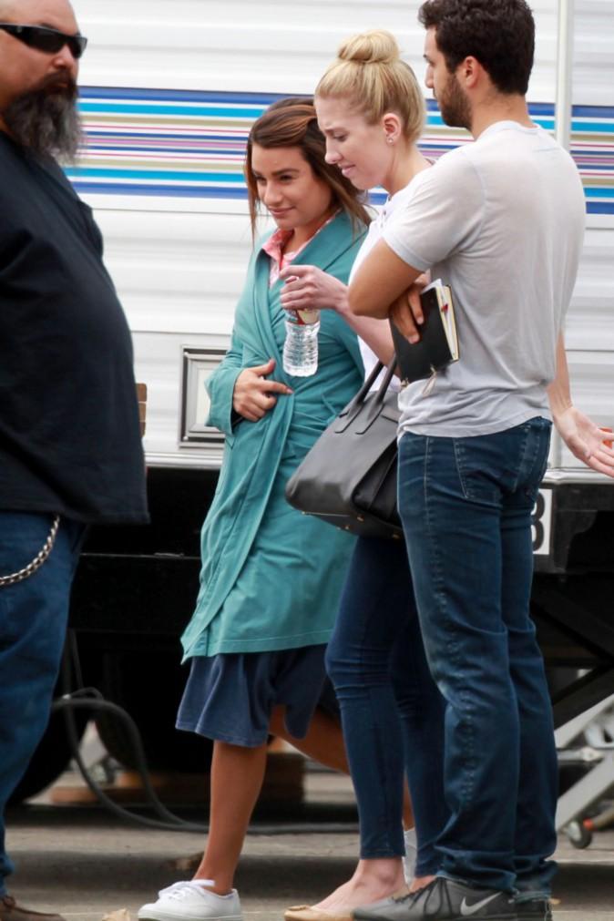 Lea Michele sur le tournage de la série Sons Of Anarchy, à Los Angeles, le 28 juillet 2014