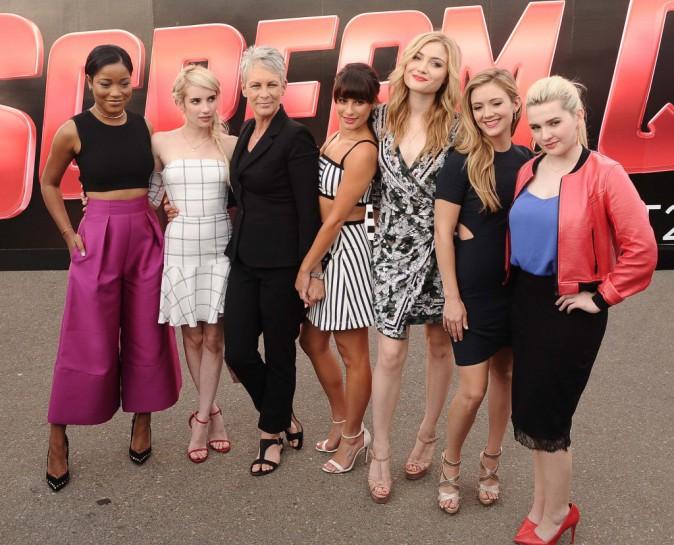 Keke Palmer, Emma Roberts, Jamie Lee Curtis, Lea Michele, Skyler Samuels, Billie Catherine Lourd et Abigail Breslin le 12 juillet 2015