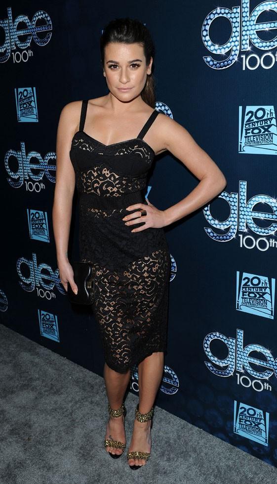 Lea Michele à la soirée du 100e épisode de Glee organisée à Los Angeles le 18 mars 2014