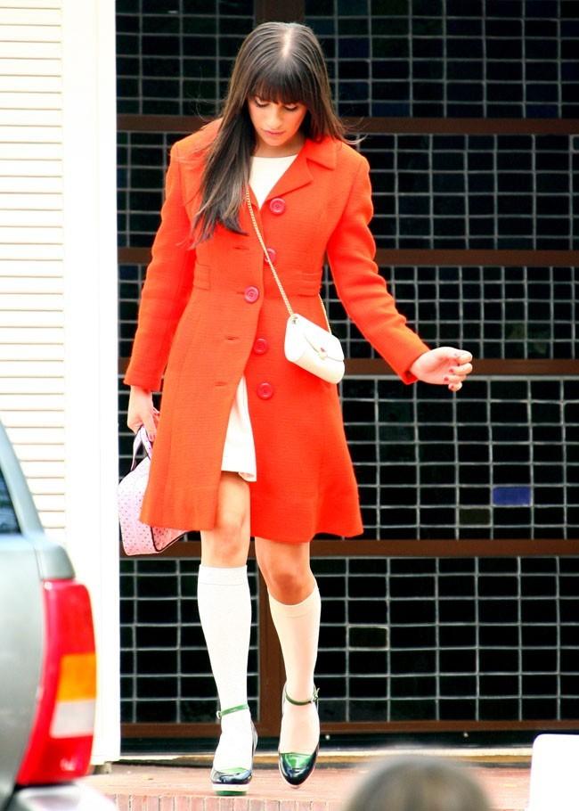 Lea Michele le 10 mai à Los Angeles sur le tournage de Glee