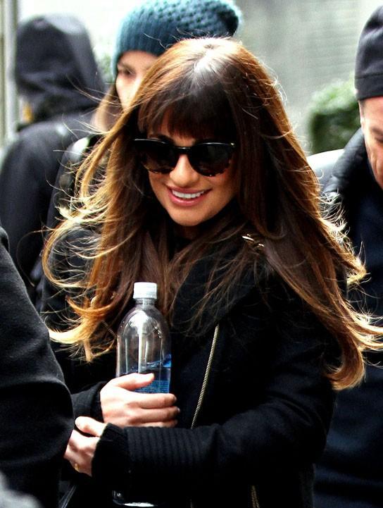 Lea Michele sur le tournage de Glee à New-York le 13 mars 2014