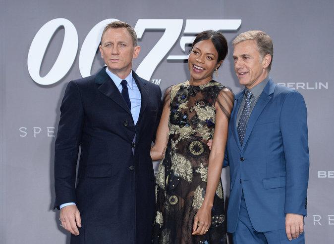 Daniel Craig, Naomie Harris et Christophe Waltz à Berlin le 28 octobre 2015