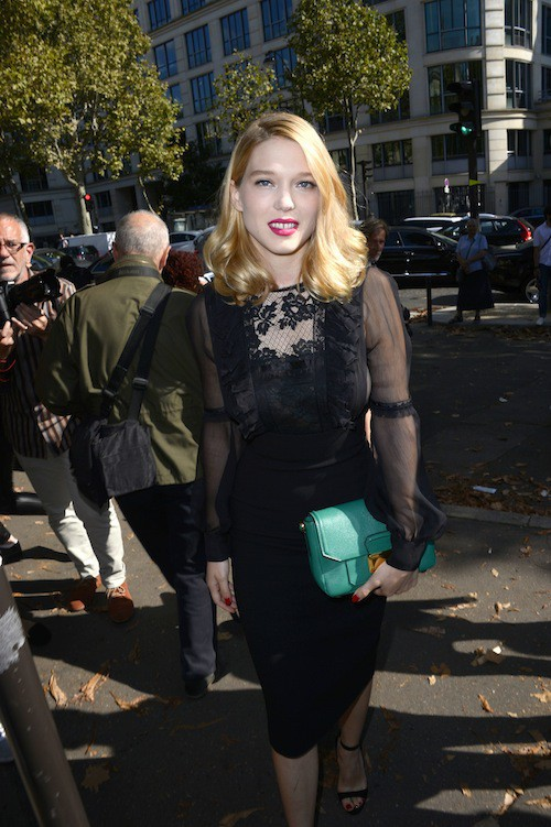 Léa Sedoux au défilé Miu Miu printemps-été 2015 à Paris, le 1er octobre 2014