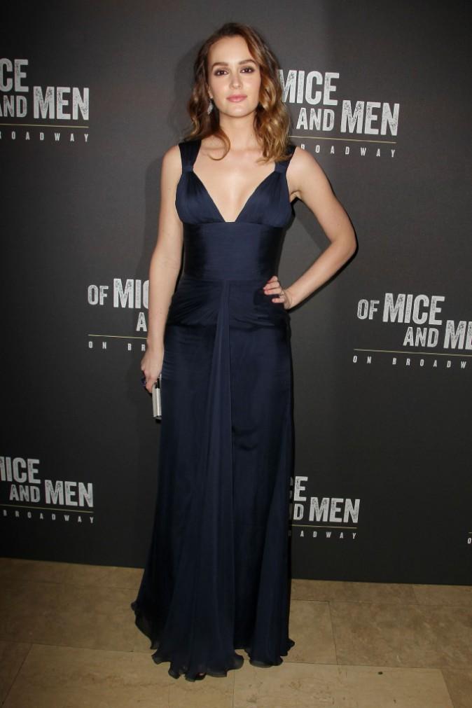 """Leighton Meester lors de la première de la pièce """"Des souris et des hommes"""" à New York, le 16 avril 2014."""