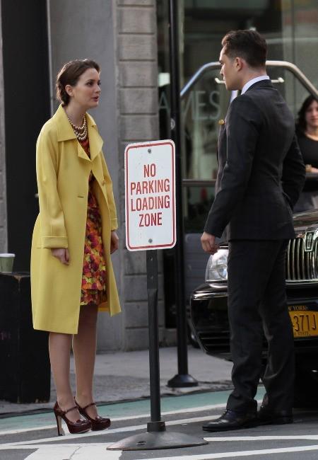 Leighton Meester et Ed Westwick sur le tournage de Gossip Girl à New York, le 20 mars 2012.