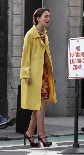 Leighton Meester sur le tournage de Gossip Girl à New York, le 20 mars 2012.