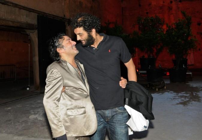 Rachid Taha et Ramzy Bedia lors du Festival Marrakech du rire, à Marrakech le 11 juin 2011.