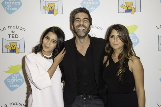 """Leïla Bekhti, Géraldine Nakache et Ary Abittan au gala de charité organisé par """"Sur les bancs de l'école"""" à Paris le 13 octobre 2014"""