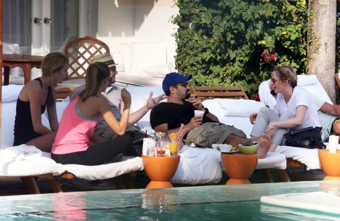 Leonardo DiCaprio, Margot Robbie et quelques amis de l'acteur à Miami, le 22 janvier 2013.
